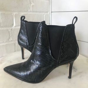 Zara black leather ankle boot.